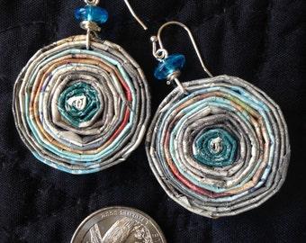 n. 13 TEAL GREEN, aqua & GRAY round hand coiled recycled paper stud earrings wot aqua glass beads