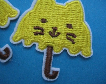 Clearance~ 12 pcs Iron-on Embroidered applique Cat Umbrella 1.5 inch