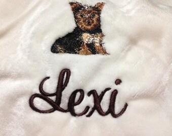 Yorkie Puppy-Embroidered Dog Blanket