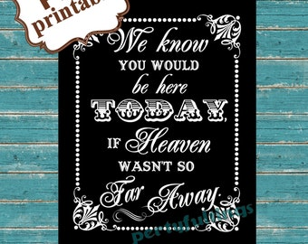 Instant DOWNLOAD- (black) If Heaven Wasn't So Far Away ---Printable PDF File