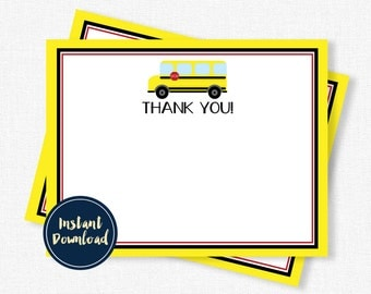 School Bus Thank You Cards, Yellow Bus Thank You, Bus Birthday, Bus Notecards, Printable INSTANT DOWNLOAD