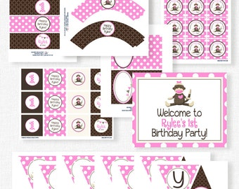 Sock Monkey Birthday Party Printables, Monkey Party Decorations, Sock Monkey Pink, Printable Party Package