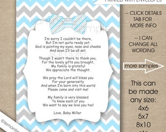 Blue Bow Tie Baby Shower Thank you notes with poem / FREE SHIPPING / any size, any wording, blue grey boy baby shower thank you cards