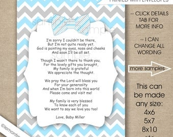 Blue Bow Tie Baby Shower Thank You Notes With Poem / FREE SHIPPING / Any  Size