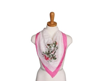 50% half off sale // Vintage 80s Hand Painted Floral Print Scarf - Pink and White Silk - Made by Pearl