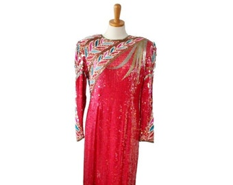 50% half off sale // Vintage 1980s Beaded Sequin Dress // Women Small // Carina, hot pink red, prom