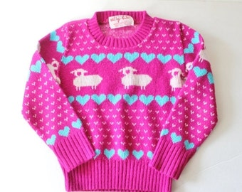 30% off sale // Vintage 80s Lambs and Hearts Sweater - Girls 3T 4T - purple, blue, Willy's Girls