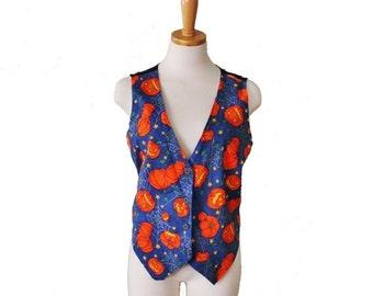 30% off sale // 90s Halloween Vest - Women M L- Busy Pumpkin Pattern, Jack O Lantern, Vintage