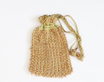 sale // Vintage 40s does 20s Beaded Purse with Drawstring Tassels, Peach and Olive