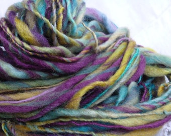 Handspun handdyed  wool art yarn in bright colors extra bulky extreme thick n thin 92 yds