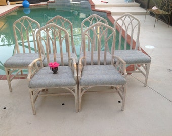 6 RATTAN FRETWORK CHAIRS / Henry Link Cathedral Dining Chairs / Set of 6 / Palm Beach Chinoiserie Style at Retro Daisy Girl