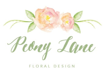 Logo design, Floral Logo, Watercolour Logo, Peony Logo, Folk Logo, Shabby Chic Logo, Wedding Logo, Business Logo, Photography Logo