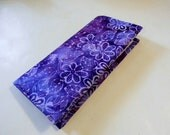 Purple Floral Batik Checkbook Cover