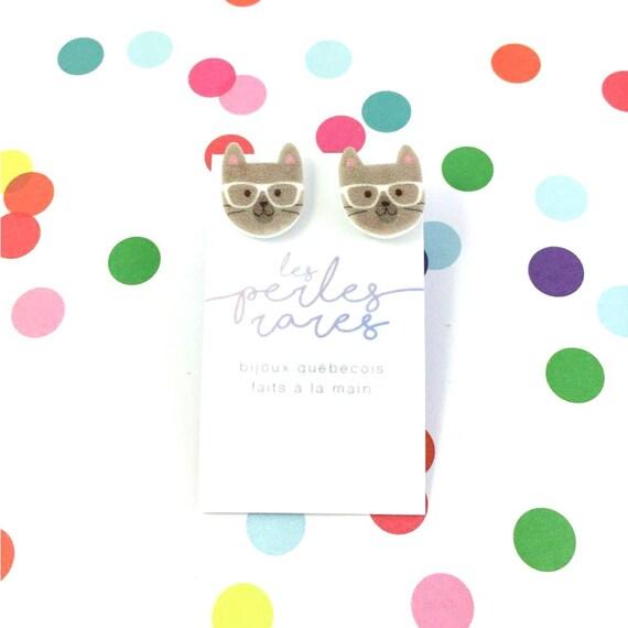 Small, cat, grey brown, white, glasses, hipster cat head, earrings, plastic, stainless stud, handmade, les perles rares