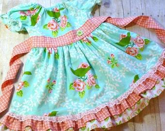 Mockingbird Bloom Girls Easter Dress,Girls Dress,Bird,Toddler Dress,Peasant Dress,Girls Twirl Dress, Sizes 12MO,18MO,2T,3T,4T,5T,6,7,8,9,10