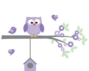 Wall Decals Owls, Cute Owl Wall Stickers for Baby Girls Bedroom, Owls Nursery Wall Decal, Children Wall Art