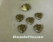 Sale LK-100m-Ant  10pcs (13x13mm ) Mini Antique Brass Heart Shape Pattern Locket, NICKEL FREE