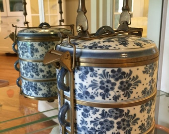 VINTAGE JAPANESE Porcelain 3 Tier Stacking Lunch Box with BRASS Bamboo Locks, Faux Bamboo, Asian Antiques  at Modern Logic