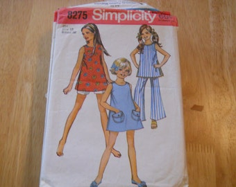 Vintage sewing pattern, 1969, dress, Simplicity 8275, size girls 12 SALE