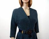 Vintage 1970s Wrap Top Dress Teal Black Textured Button Front Shirtwaist Dress / U.S. 6 Small
