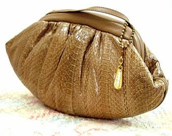 Vintage 1980s Shoulder Bag Snakeskin Look Designer Tan Beige Clutch Purse