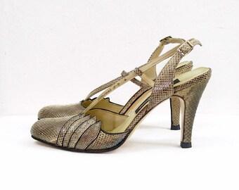Vintage 1950s High Heels Gray Taupe Snakeskin Slingback Pumps Shoes / US 6.5 – 7