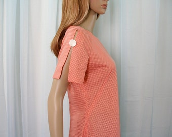 Vintage 1960s Tunic Top Coral Orange Dotted Swiss Handmade Blouse / Small to Medium
