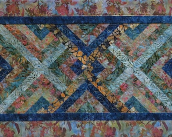 Handcrafted Geometric Batik Quilted Table Runner blues greeans gold mauves
