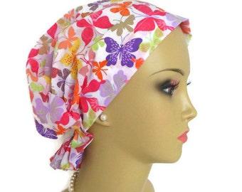 Hair Snood Colorful Butterflies Woven Batiste| Teen Adult Volumizer Chemo Headwear | Hair Covering | Tichel & Mitpachat Head Wrap | Reg- XL
