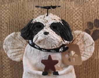 Shih Tzu Angel, OOAK, handmade from papier mache, SHIH TZU