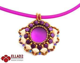 Tutorial Drina Pendant-Beading pattern with Button beads and Silky Beads by Ellad2