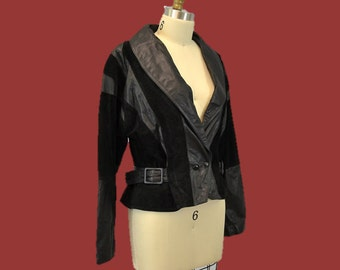 Leather ROCKER jacket Vintage leather cropped 80s hipster indie 90s grunge black large IngridIceland
