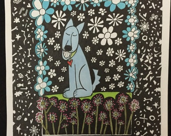 Portrait Day, dog art, smiling dog, happy dog, flowers, garden art, abstract, original drawing, (not a print) whimsical drawing