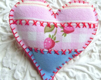 Heart Brooch Fabric Applique Pink And Blue