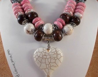 Western Cowgirl Statement Necklace Set - Chunky White and Brown Howlite - Pink Coral - Heart Pendant