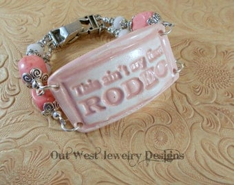 Western Cowgirl Bracelet - Pink Howlite with a Ceramic Focal - This Ain't My First Rodeo