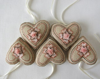5 linen heart ornaments decorated with silk flowers - cream, peach pink, white