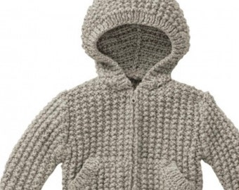 Knitting Pattern Baby Jacket PDF Pattern Instant Download  Knitted Baby Jacket with Zipper Hoodie Baby Jacket Pattern