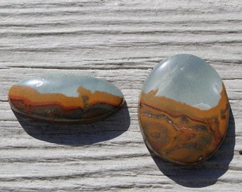 SALE - Clearance - 50% off SET of Rocky Butte Picture Jaspers, Owyhee picture jaspers, landscape jasper cabochons for jewelry making