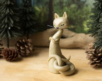 Golden Forked Tail Cat Spirit - Nekomata by Bonjour Poupette