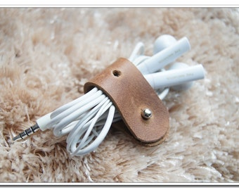 Leather Cable Organizer Cable Gadgets Headphones Cable-Organizer silver button