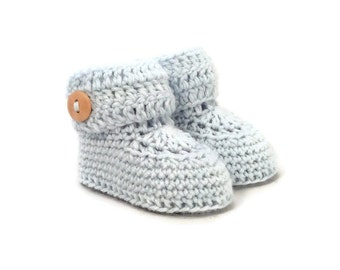Blue Baby Booties, Baby Boy Booties, Knitted Baby Booties, Knit Baby Booties, Crochet Baby Booties, Merino Wool, Baby Gift Warm and Woolly