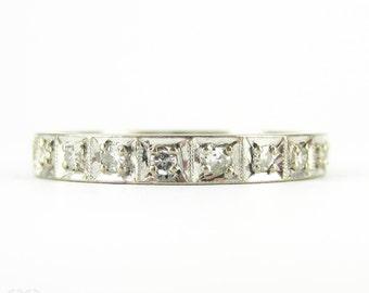 Vintage Diamond Wedding Ring, Mid 20th Century Square Design 10 Stone Half Eternity Ring. Add a Diamond Ring, 14ct.
