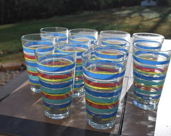 Set of Ten Vintage Large Fiesta Festive Striped Tumblers
