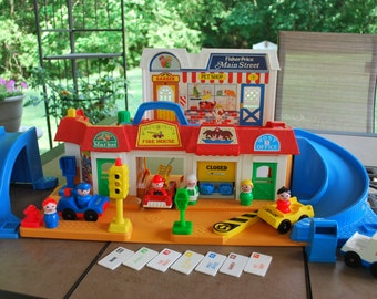 Vintage Fisher Price Little People Mainstreet Playset 100 Percent Complete, Bonus Pieces.