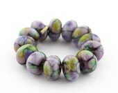 Sheribeads Glass Beads 12 Poseidon's Lavender Crackle Spacers Lampwork