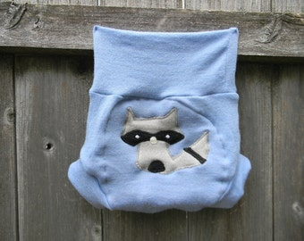 Upcycled  Merino Wool Soaker Cover Diaper Cover With Added Doubler Blue With Sneaky Raccoon Applique LARGE 12-24