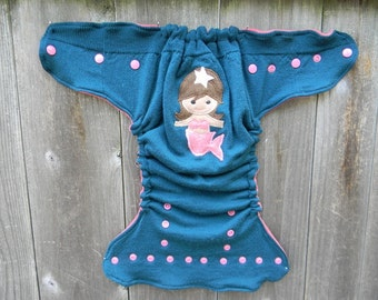 Upcycled Merino Wool Nappy Cover Diaper Wrap Cloth Diaper Cover One Size Fits Most Teal With Mermaid Applique/ Pink