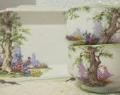 Vintage Antique Greenwood Tree Royal Albert crown China ENGLAND three pieces / Art deco / Tea Set cups tray Candy Dish