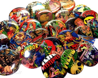 """Horror Comic Magnets, 1"""", 1.5"""", Button Magnet, Comic Buttons, Comic Parties, Comic Party Favors, Comic Lovers, Comic Theme, Comic Birthday"""